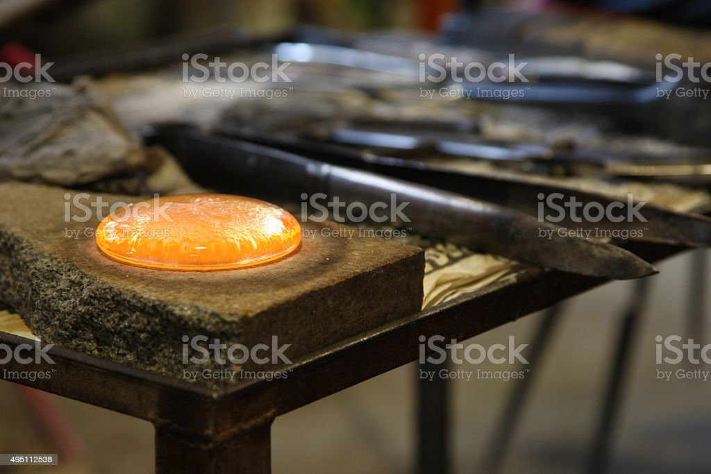 Incandescent glass in a factory of Murano, Venice stock photo
