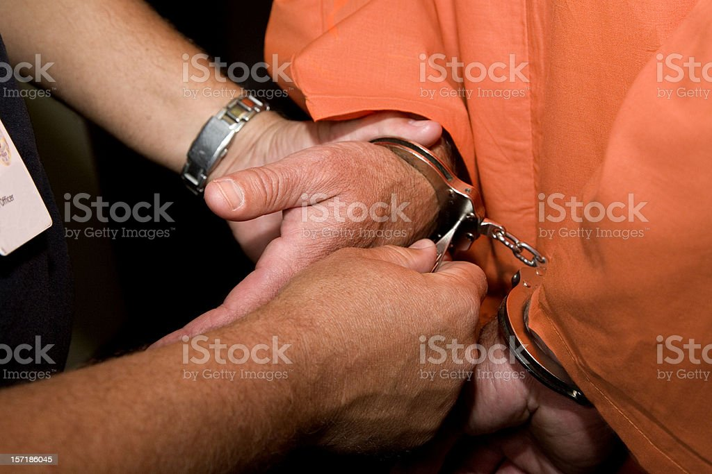 Incarceration, Man in Handcuffs. royalty-free stock photo