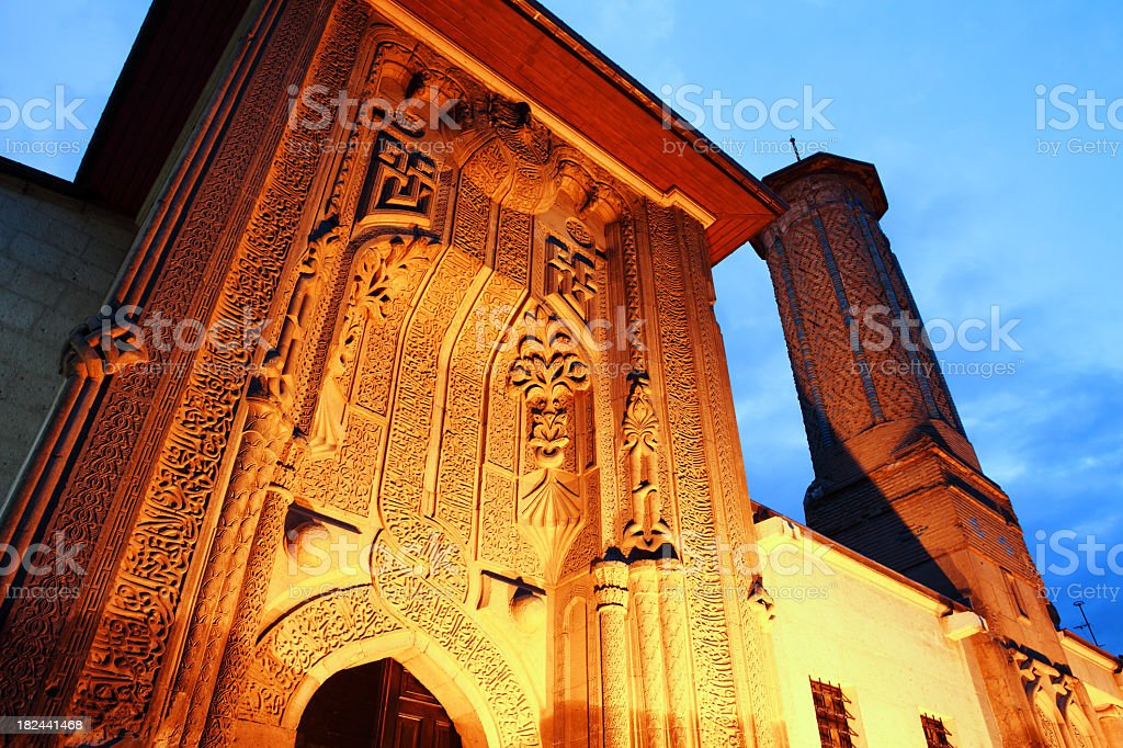 Ince Minare Medrese at Twilight stock photo