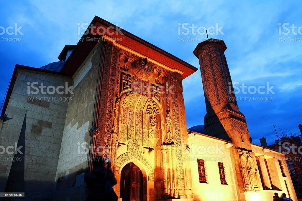 Ince Minare Medrese, Seminary of the Slender Minaret at Twilight stock photo
