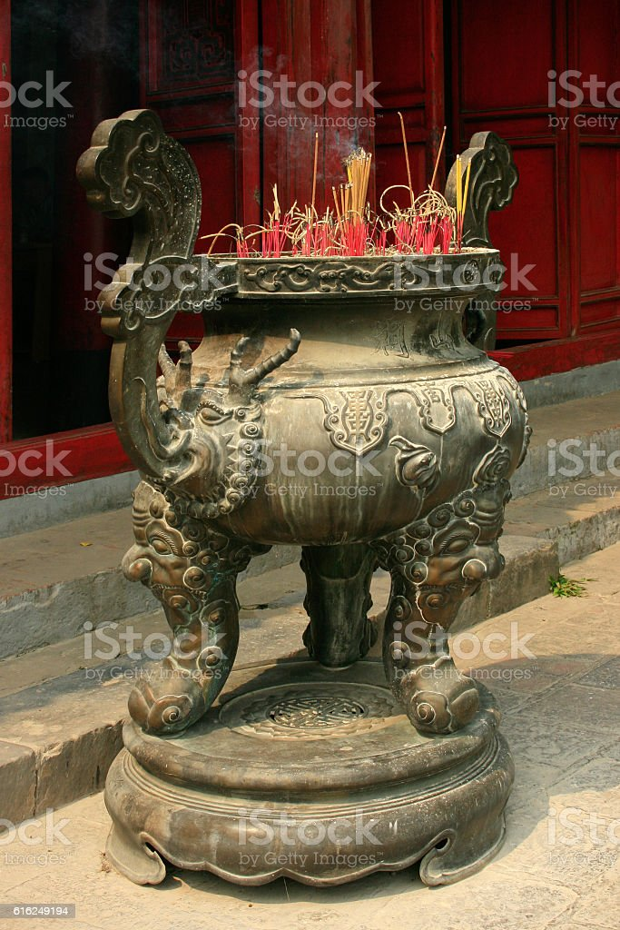 Incense burner at Ngoc Son Temple stock photo