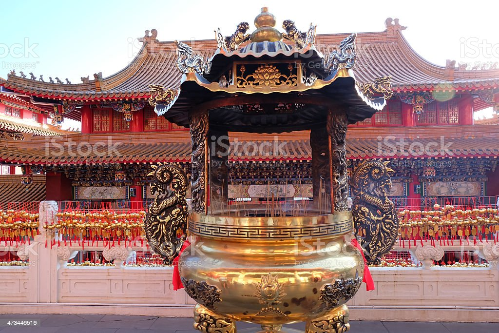 Incense Burner In Chinese Temple stock photo