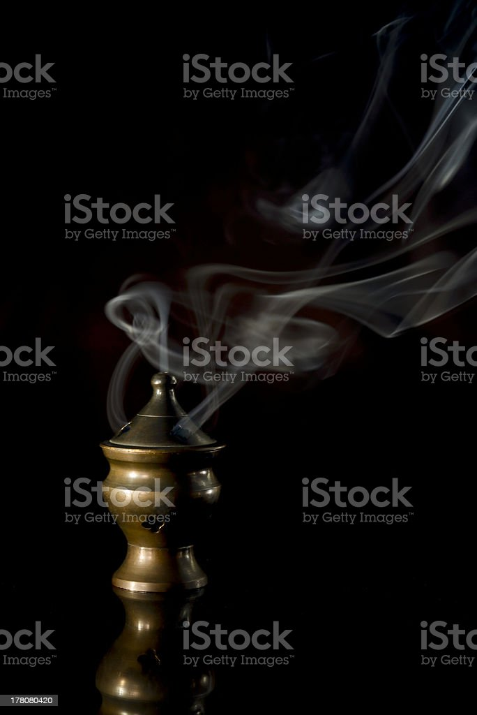 Incense Burner isolated on black royalty-free stock photo