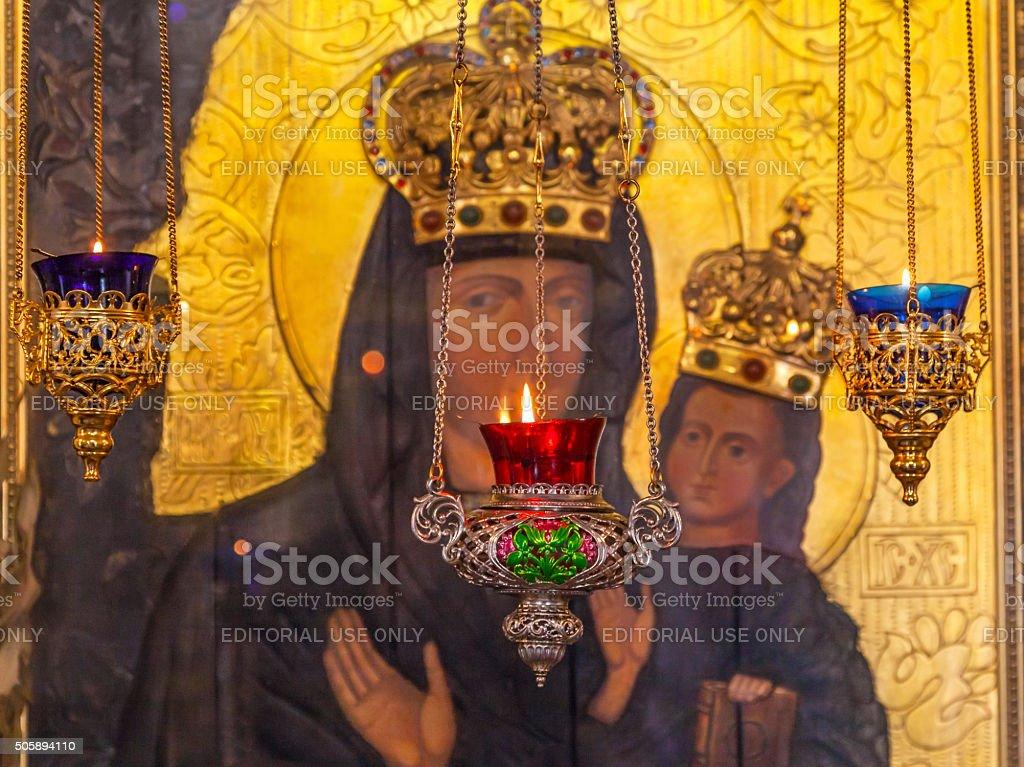 Incense Burners Madonna Icon Saint Nicholas Church Kiev Ukraine stock photo