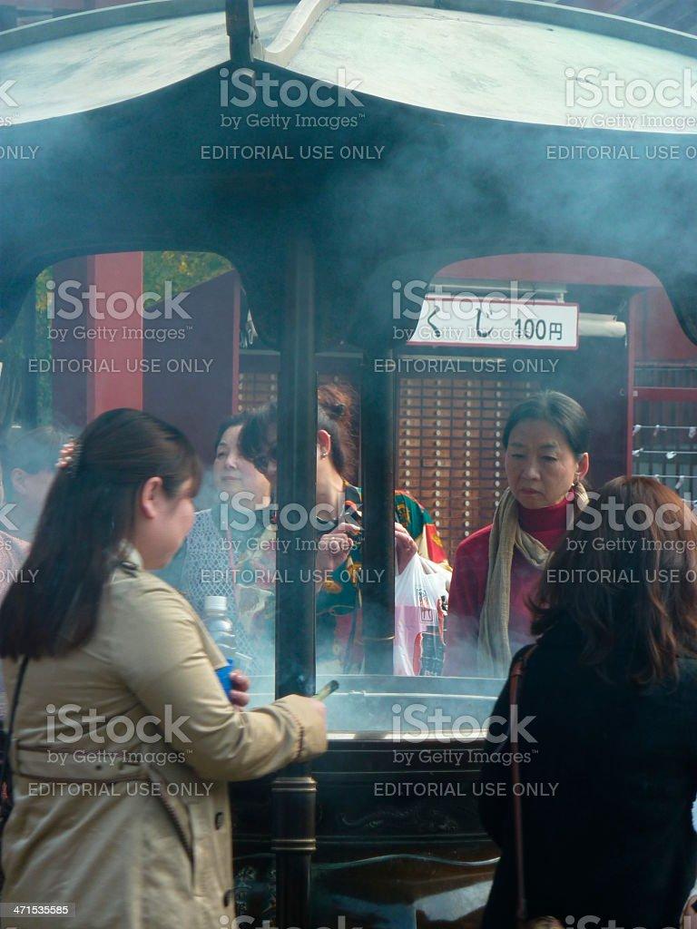 Incense burning at Sensoji temple, Tokyo stock photo