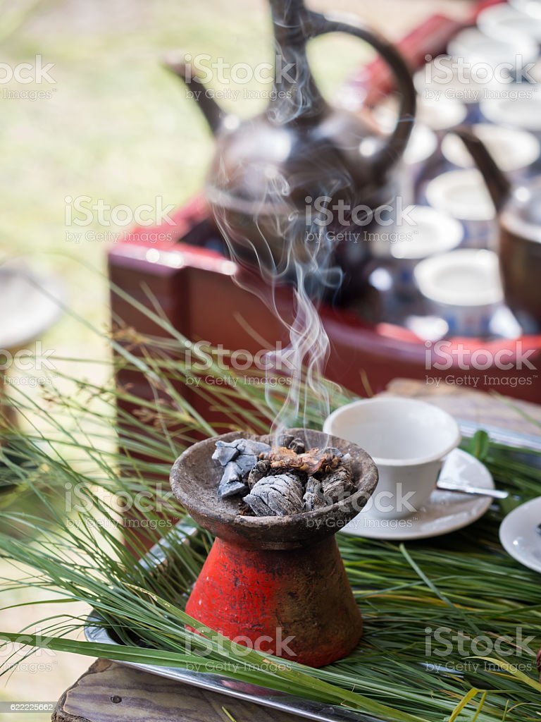 Incense burnt during the traditional Ethiopian coffee ceremony. stock photo