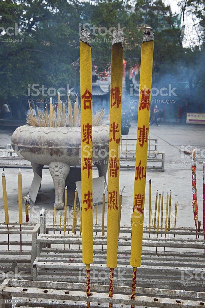 Incense in Buddhist Temple Hong Kong China stock photo