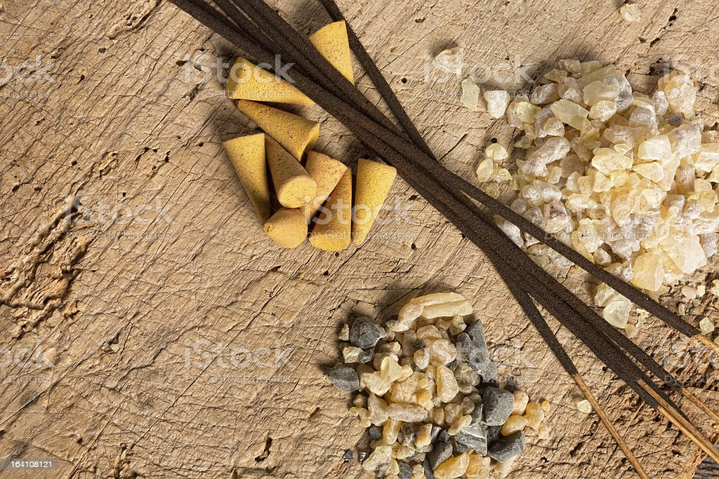 Incense on wood royalty-free stock photo