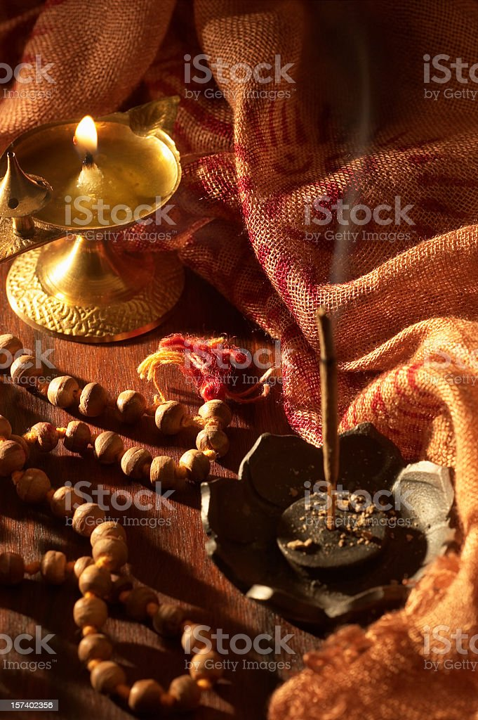 Incense, Prayer Beads and Fire royalty-free stock photo