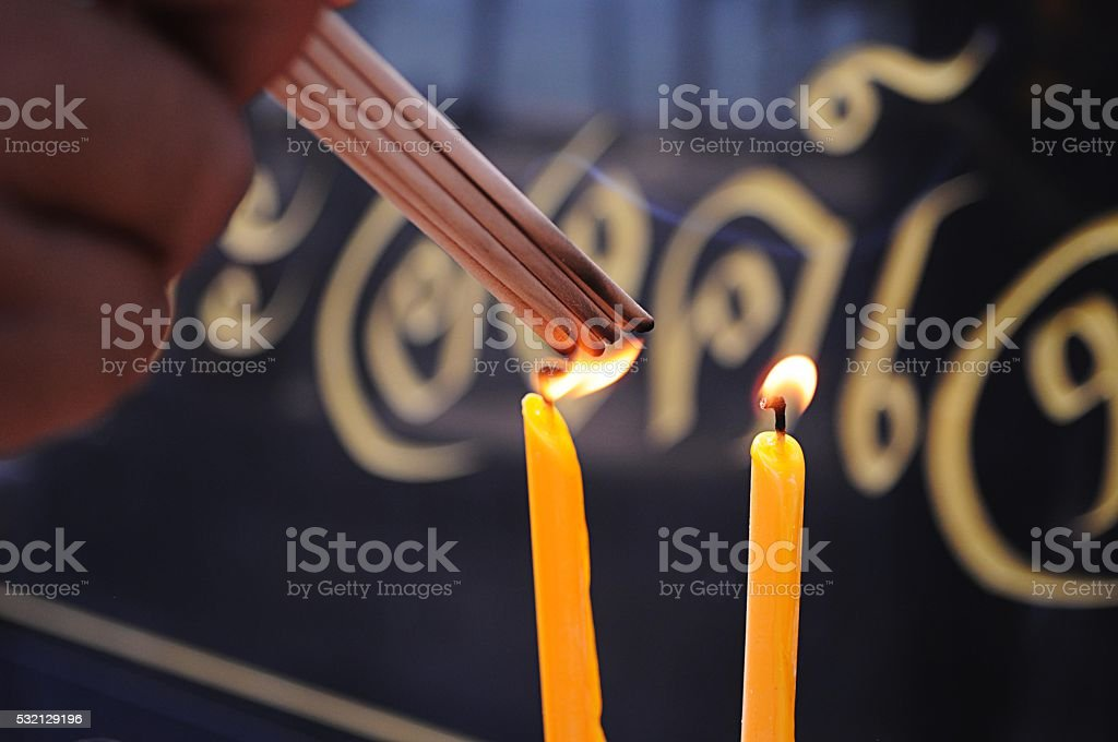 Incense stick and Candle stock photo