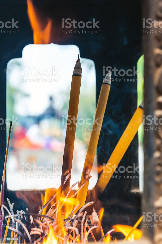 Incense sticks in Buddhist Temple Hong Kong China stock photo