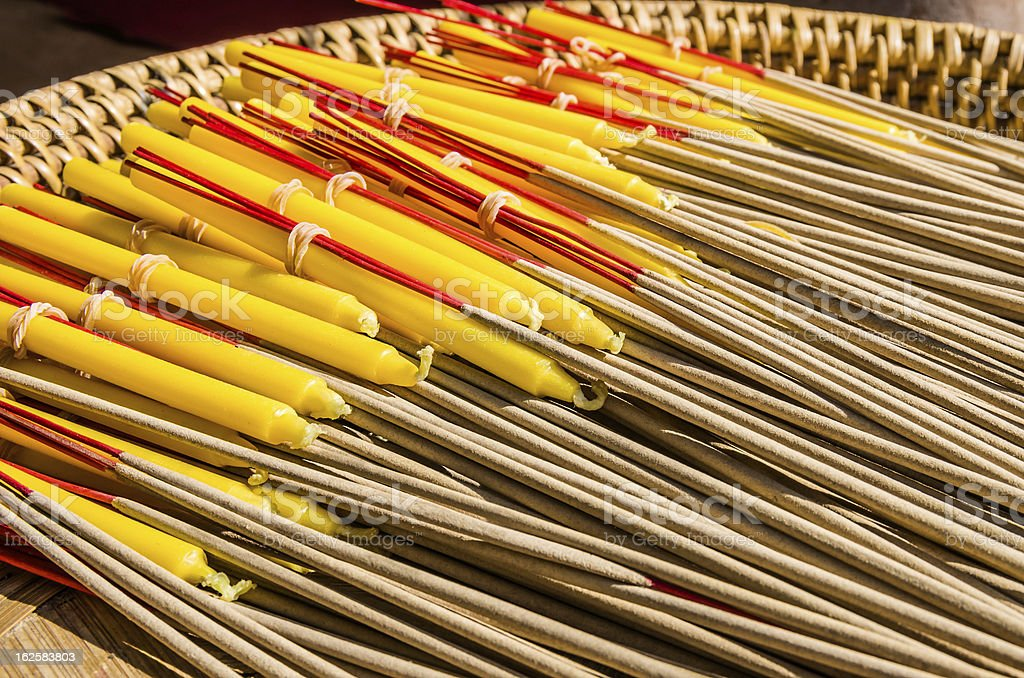 Incenses at buddhist Temple - Chiang Mai, Thailand royalty-free stock photo
