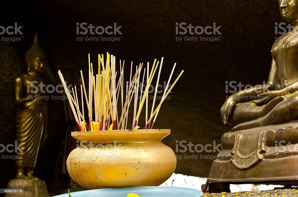 incenses in Thai temple stock photo