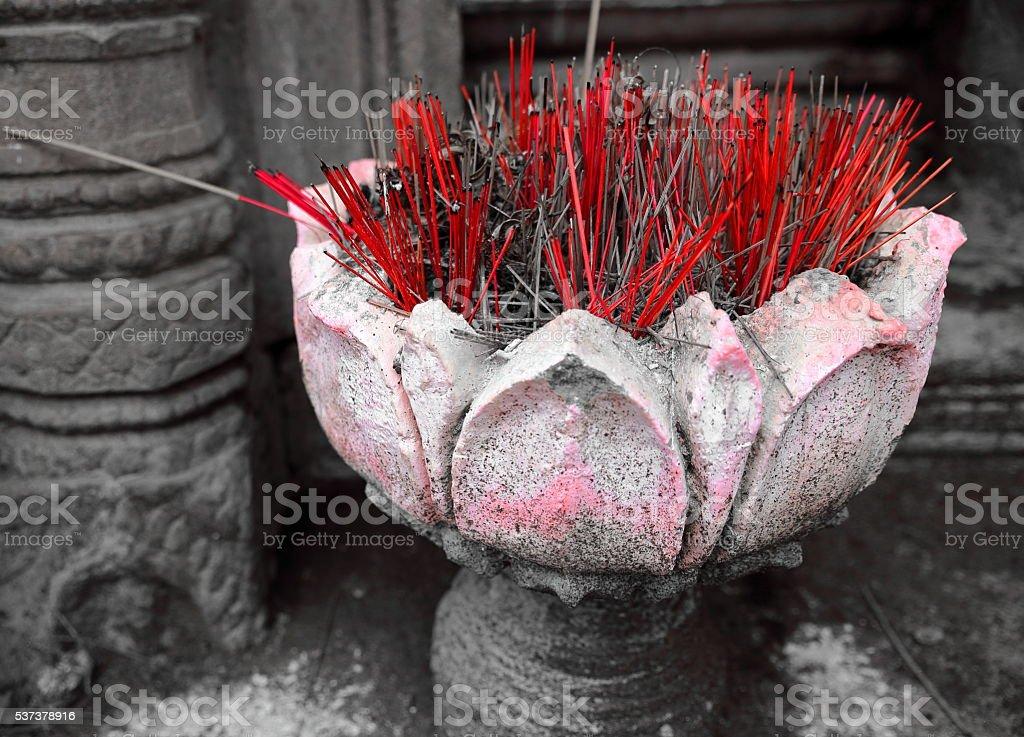 incense-wat nokor-cambodia stock photo