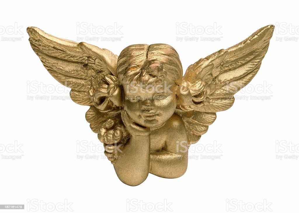 4 inch Cherub angel painted gold stock photo