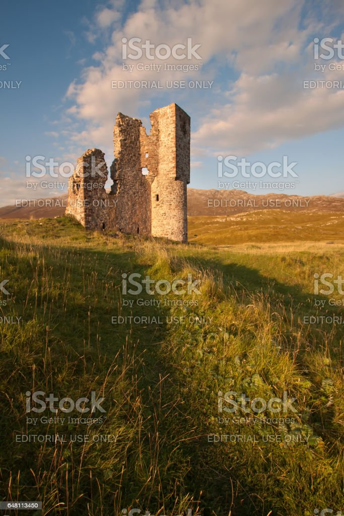 Inchnadamph, Loch Assynt, Sutherland, Scotland – September 17, 2014: Ardvreck Castle stock photo