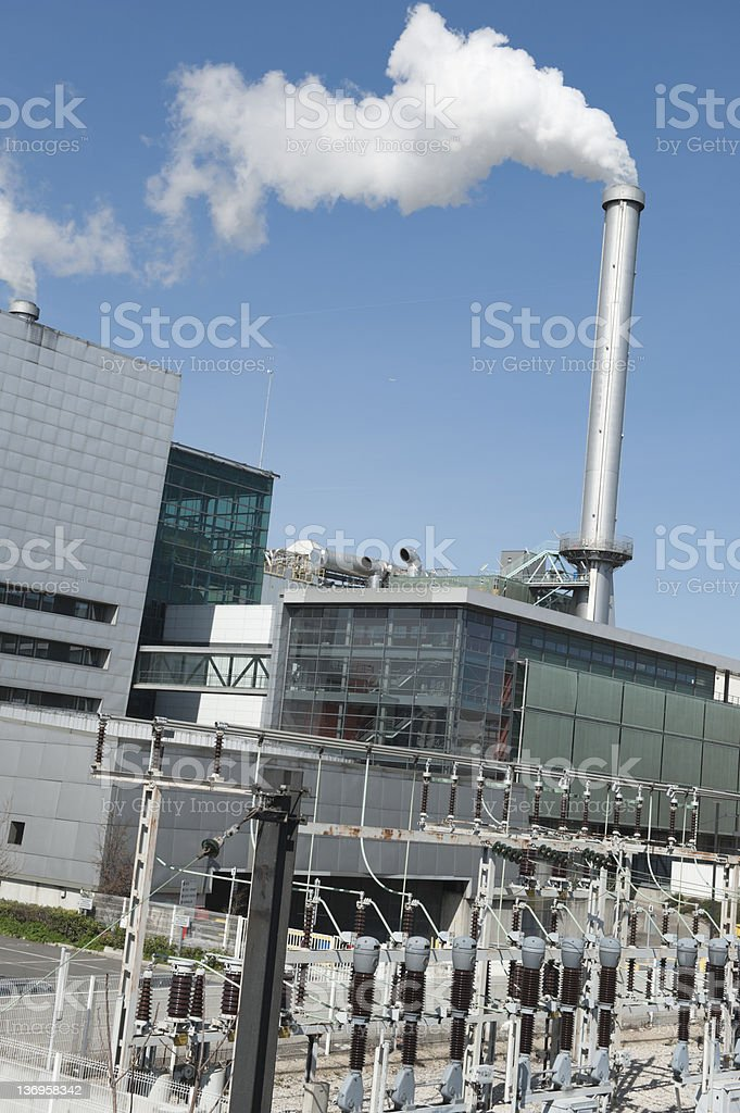 incinerator - electricity from waste plant stock photo