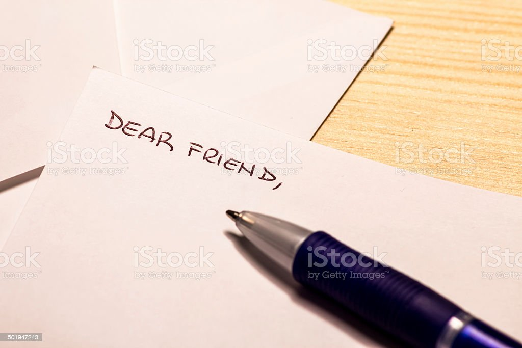 Incipit of a letter to a friend stock photo
