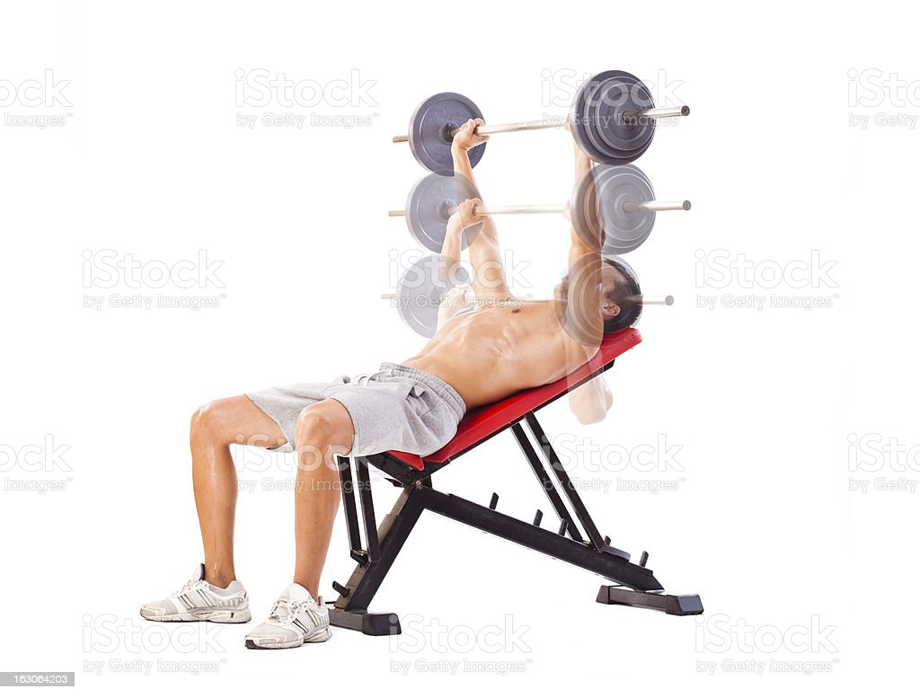 Incline Bench Press, steps royalty-free stock photo
