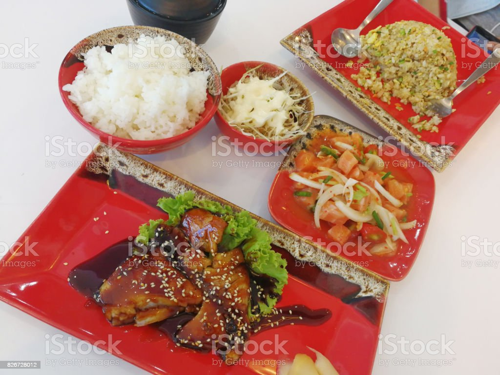 Include Japanese food on the table stock photo
