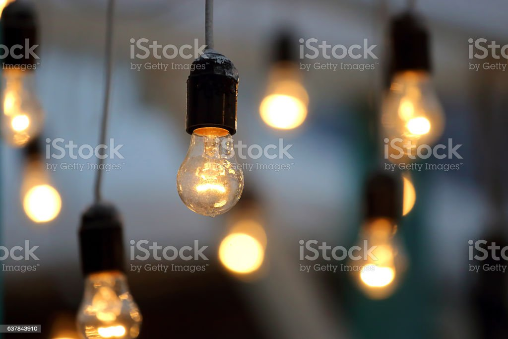 included hanging electric lamp stock photo