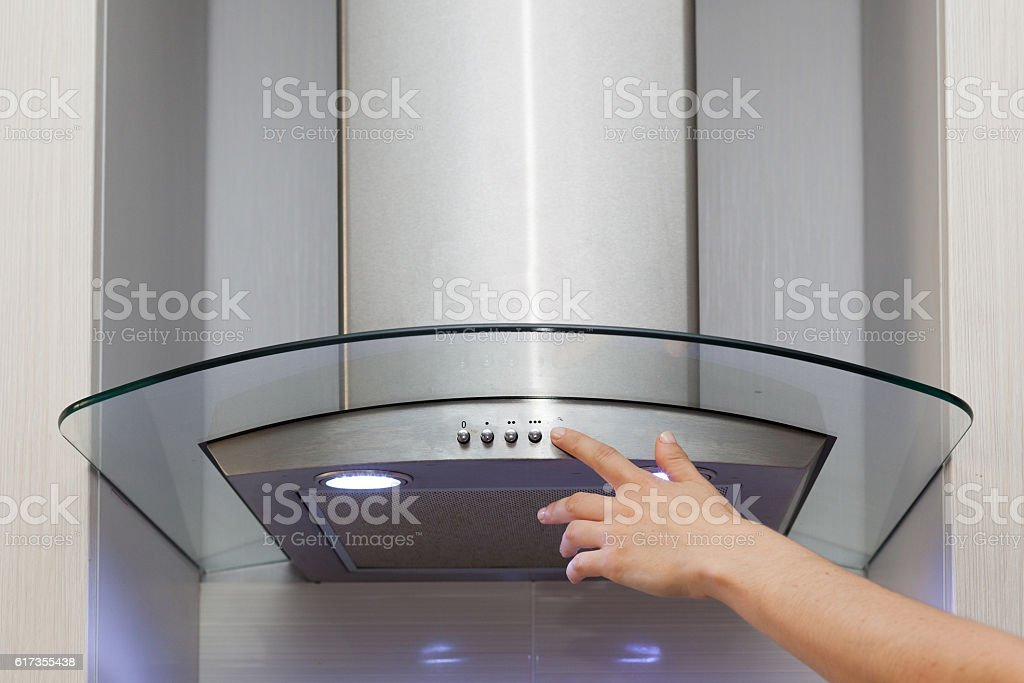 Included light on the extractor hood stock photo