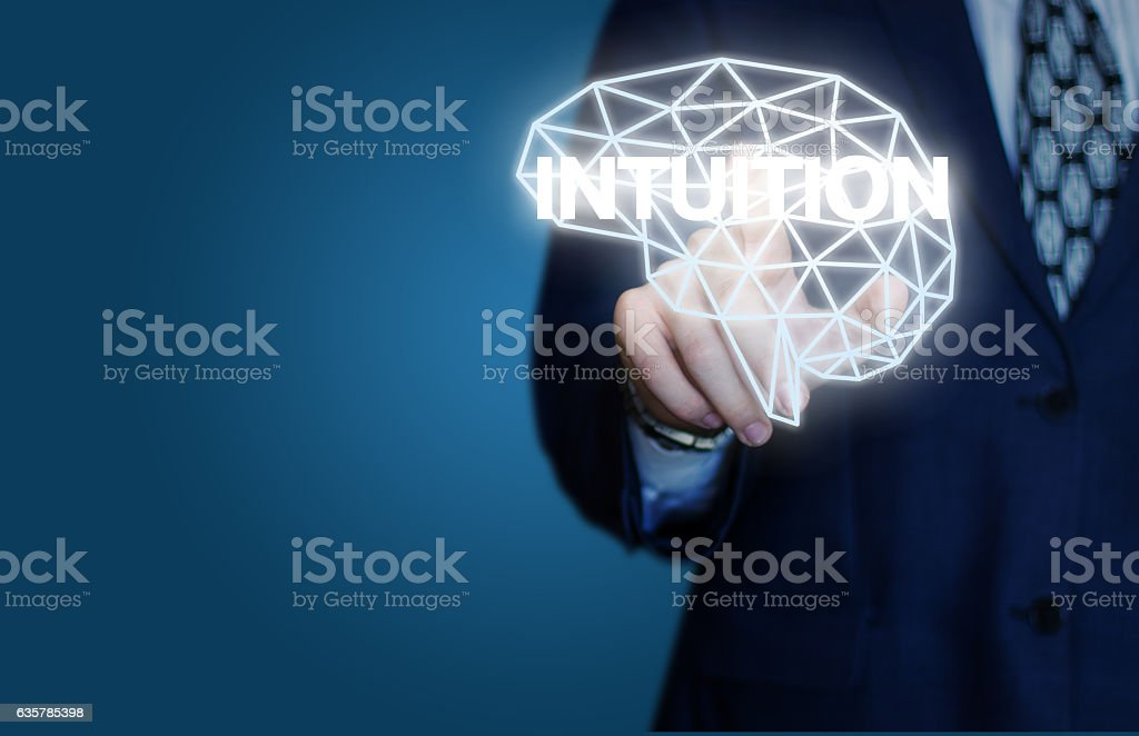 Includes intuition Businessman. stock photo