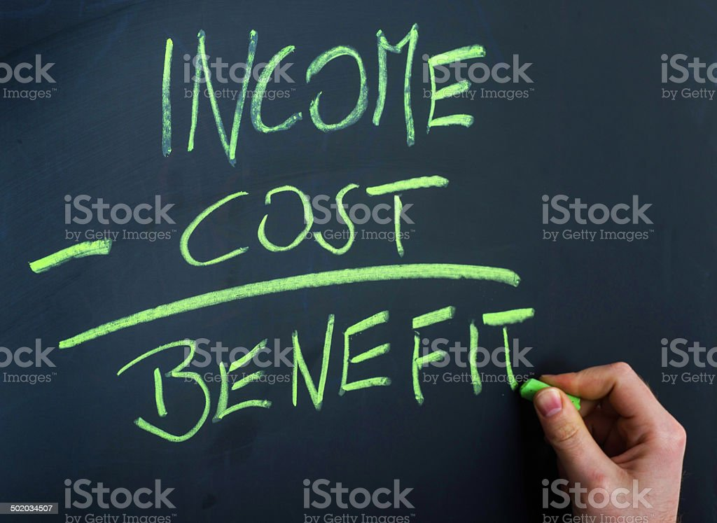 income forumula on blackboard with hand stock photo