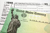 Income Tax Form and Refund Check