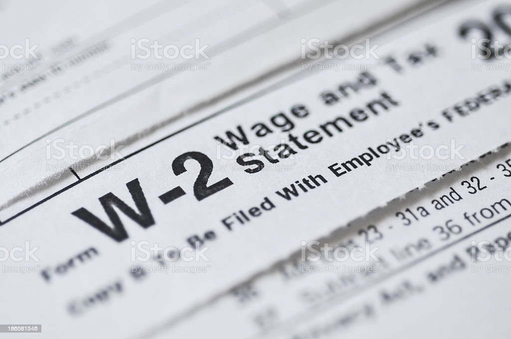 W2 income tax form stock photo