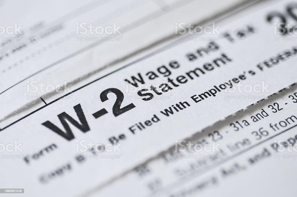 W2 income tax form stock photo