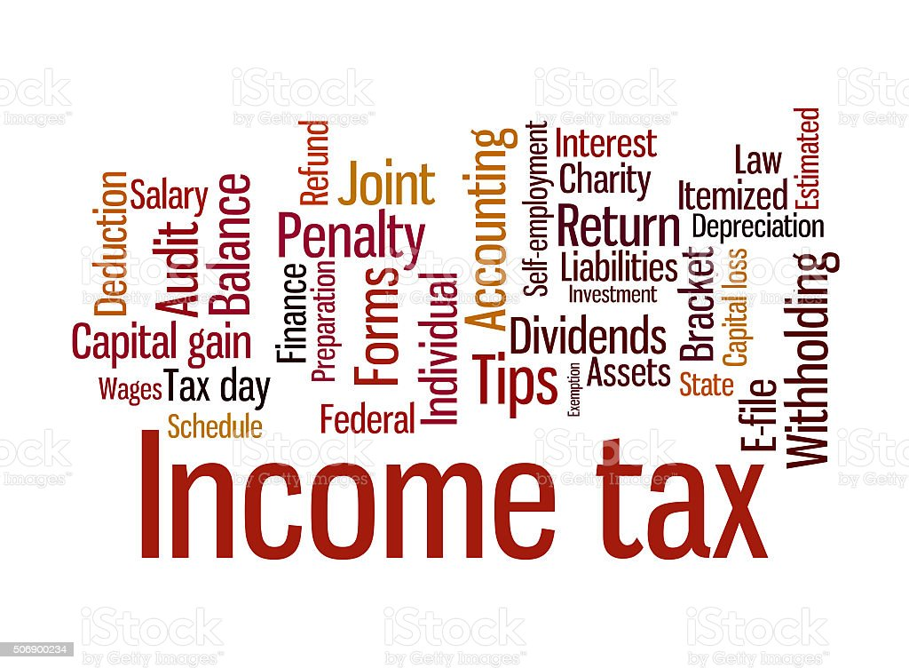 Income tax words stock photo