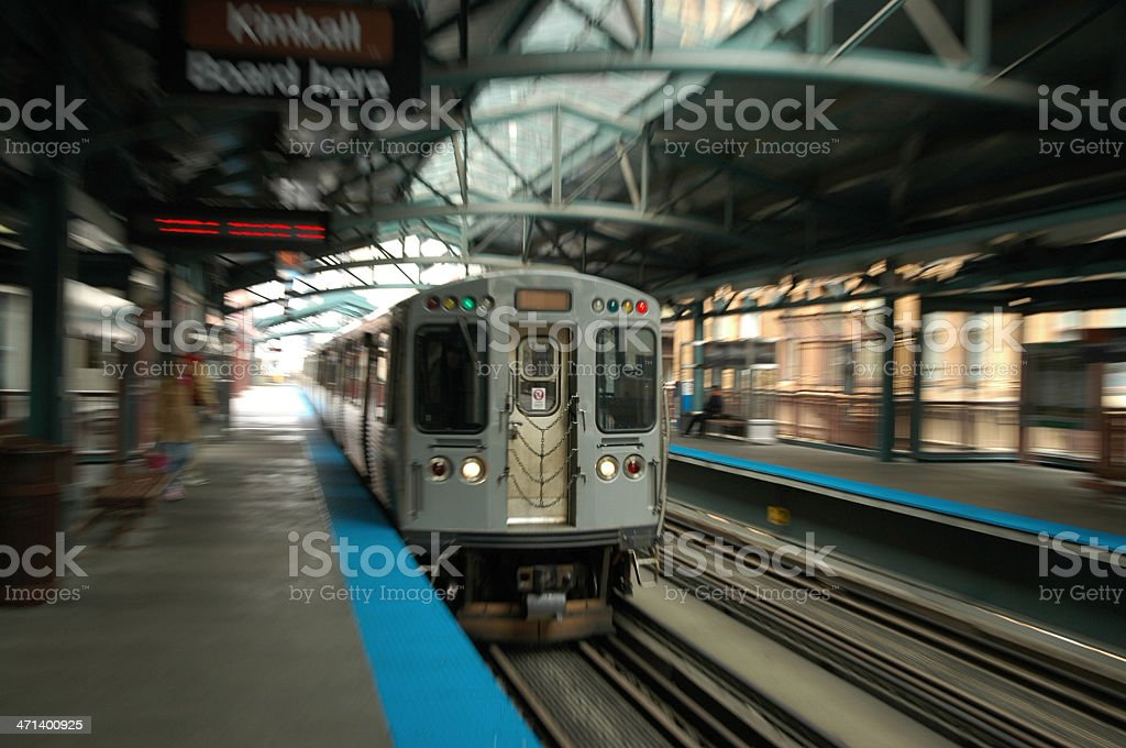 Incoming Chicago L train motion blur stock photo
