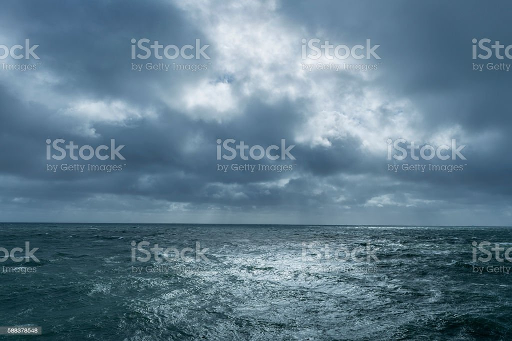 Incoming storm over ocean stock photo