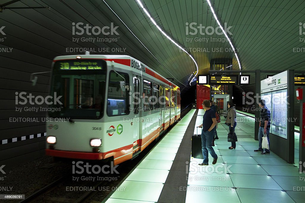 Incoming subway in Bochum stock photo