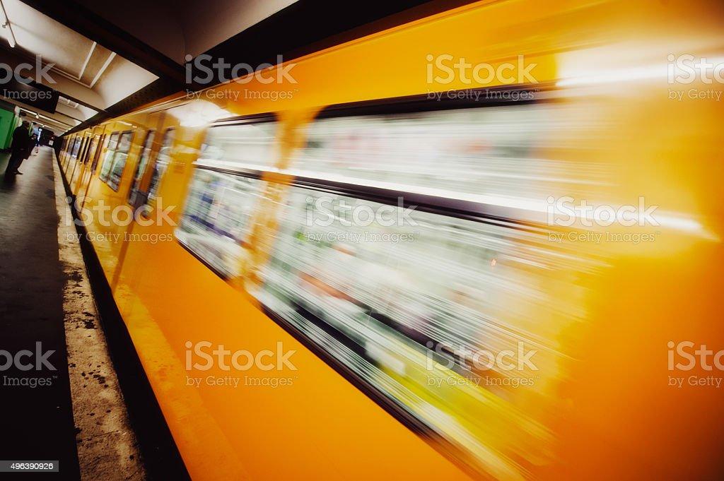 Incoming subway train stock photo