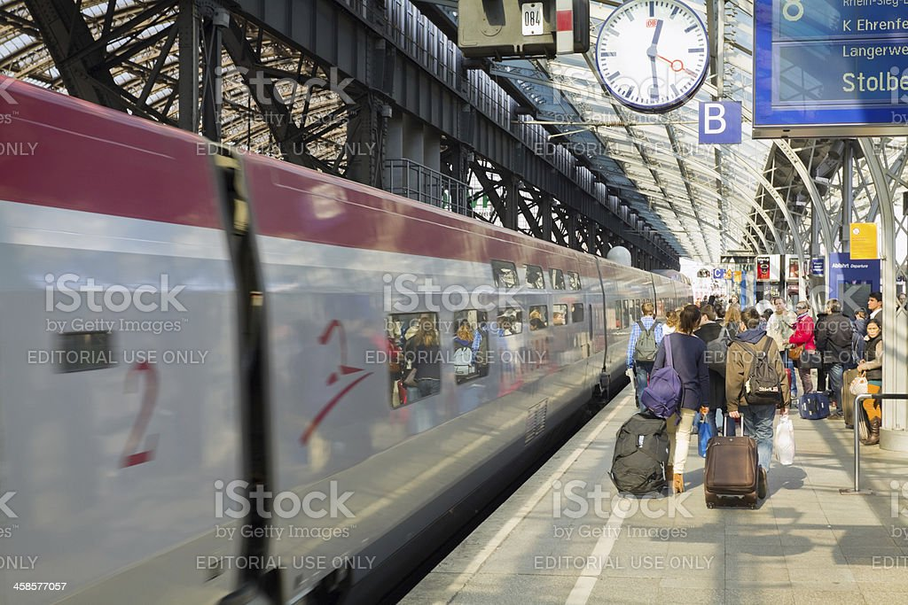 Incoming Thalys at station Cologne stock photo