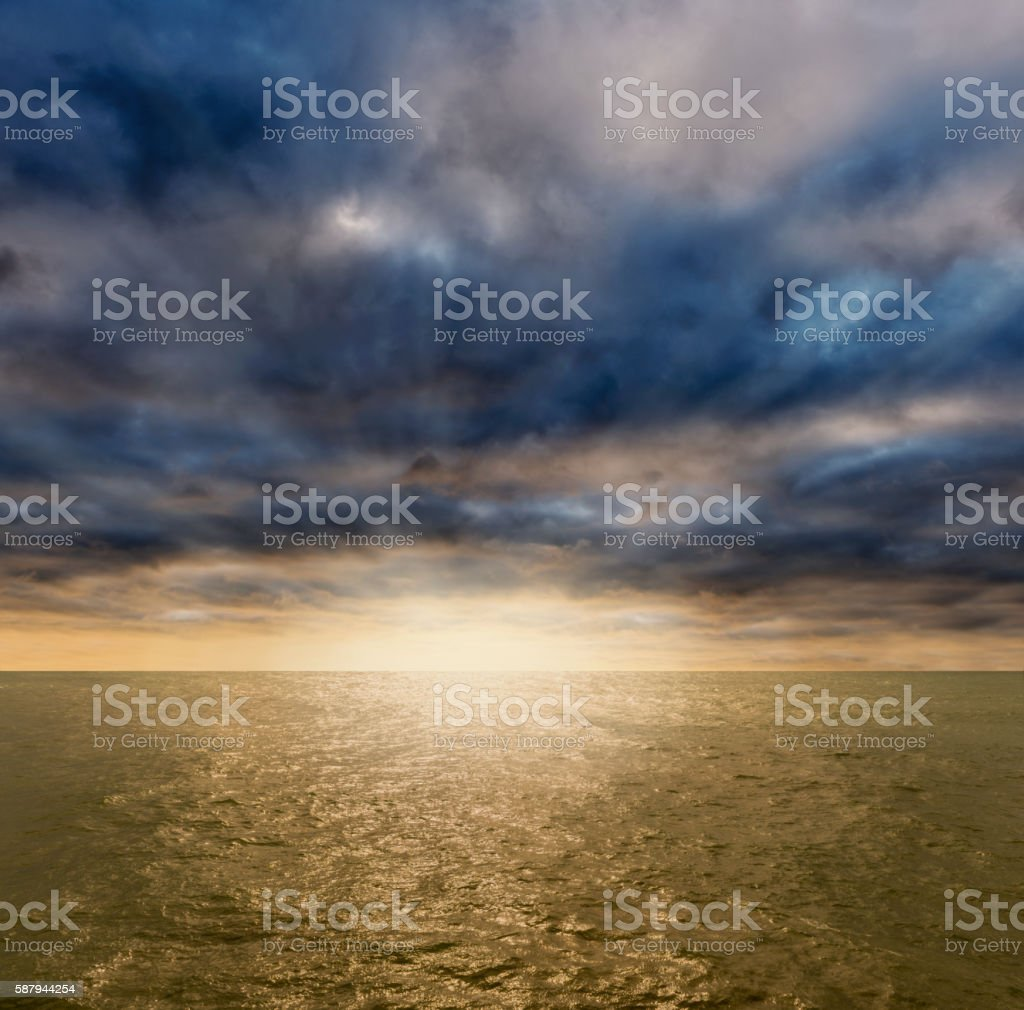 Incoming thunderstorms over oceans stock photo