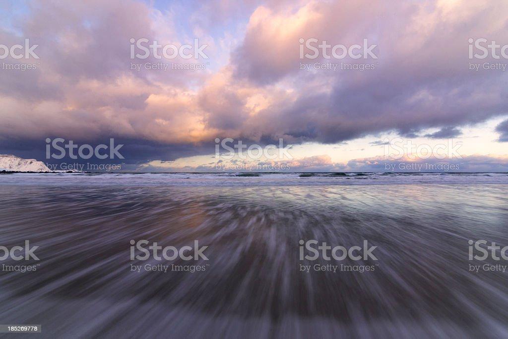 Incoming Wave Flakstad Beach stock photo