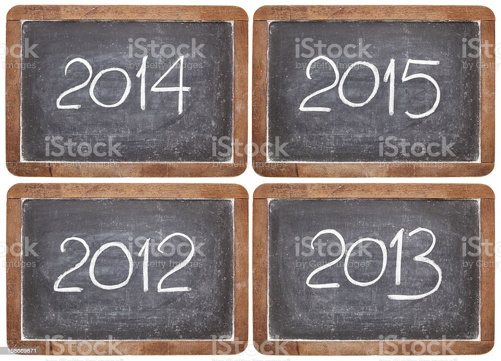incoming years 2012, 2013, 2014, 2015 royalty-free stock photo