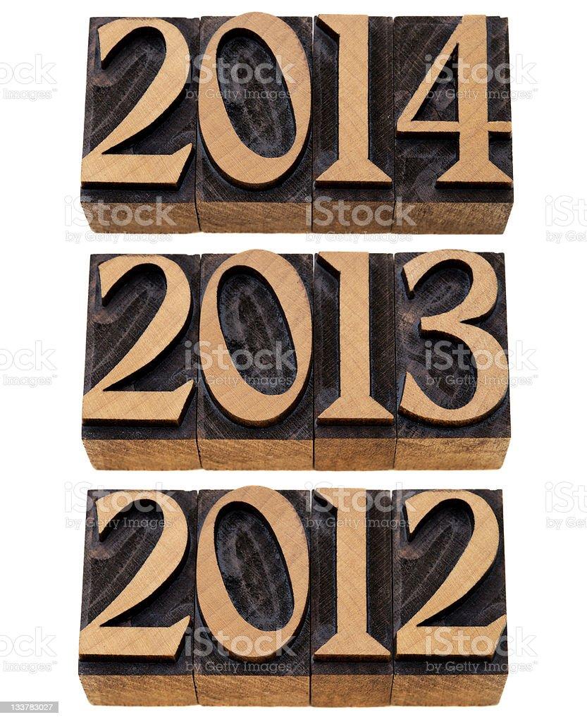 incoming years 2012, 2013, 2014 stock photo