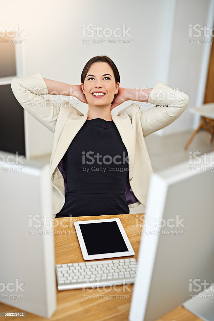 Incorporating some R&R into her workday stock photo