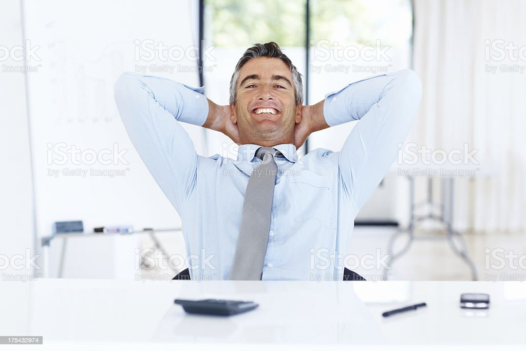 Increased figures, I can sit back and relax! royalty-free stock photo