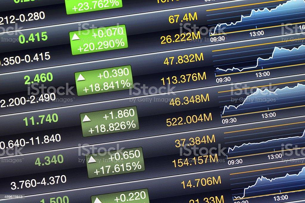 Increases price screen of stock market stock photo