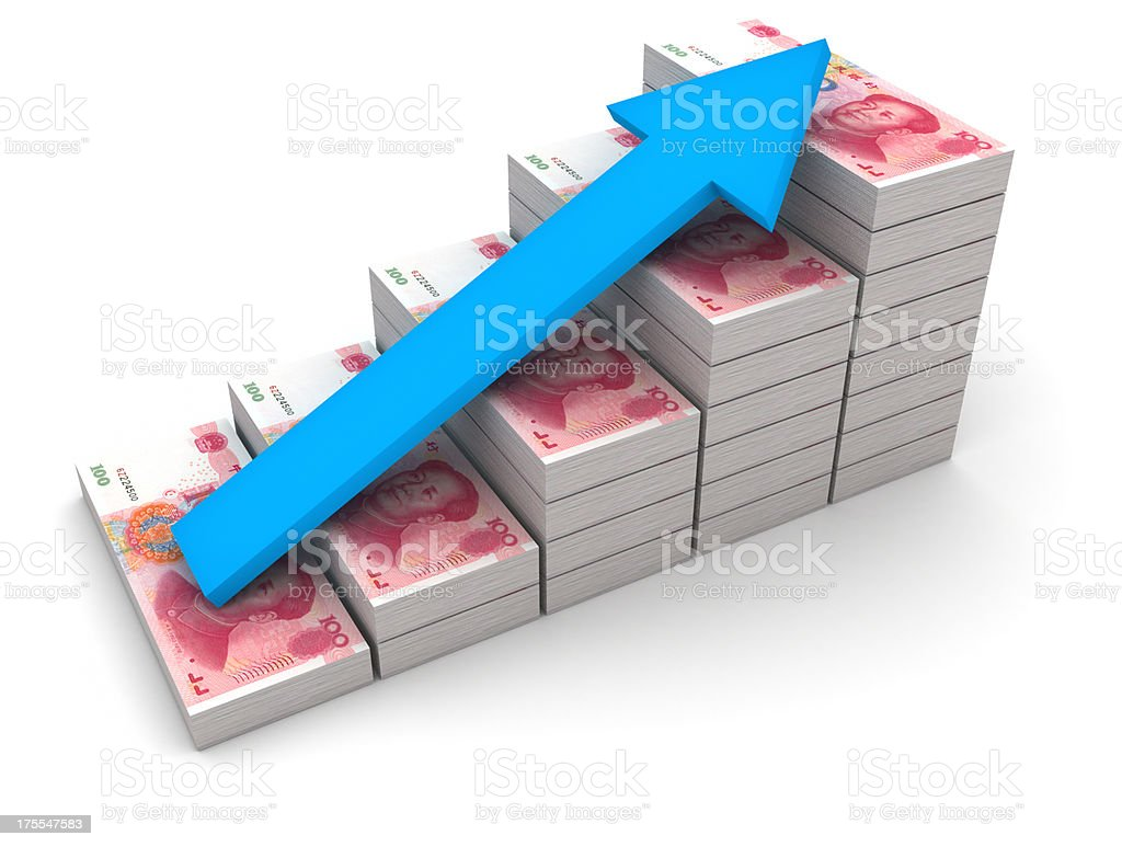 Increasing value of Chinese Yuan. stock photo