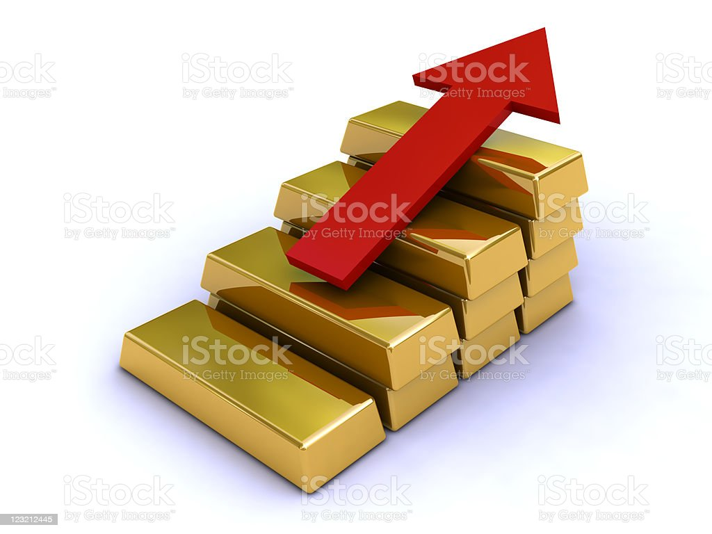 Increasing value of gold. stock photo