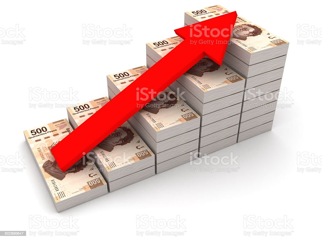 Increasing value of Mexican peso. stock photo