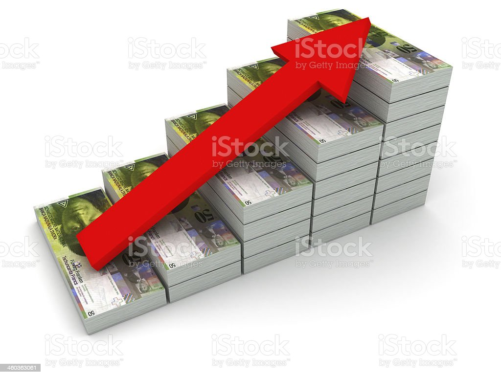 Increasing value of Swiss Franc. royalty-free stock photo