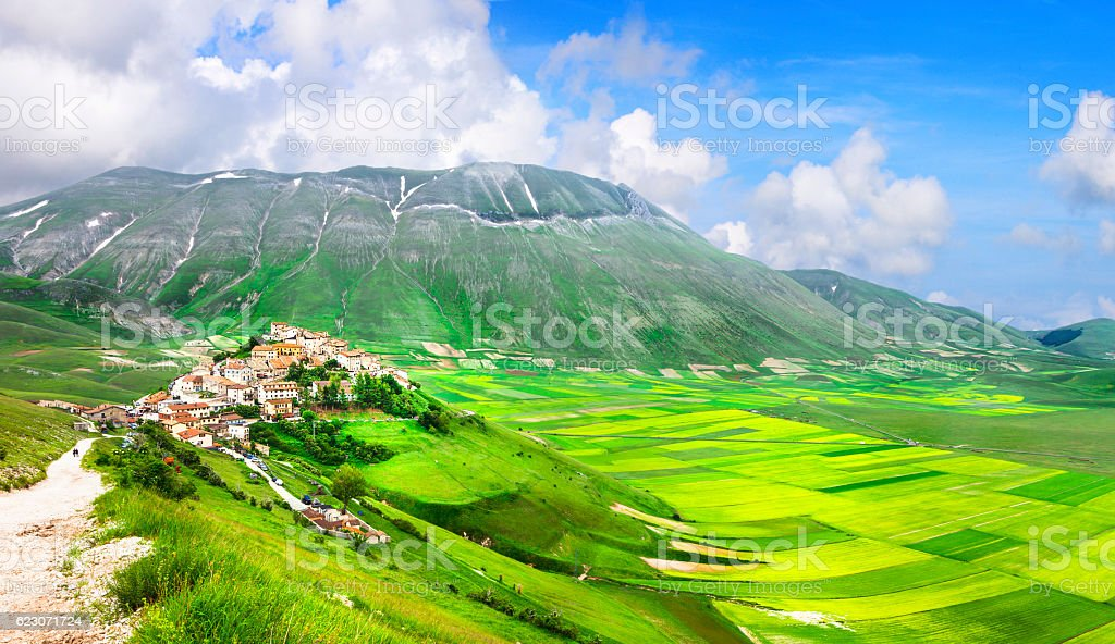 incredible Italy series - nature landscapes - Castelluccio di Norcia stock photo