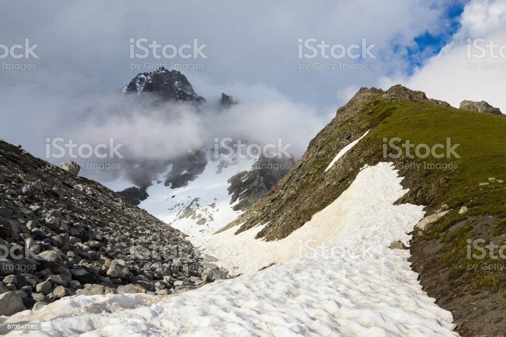 Incredible landscape with high rocky mountains with snowy. Upper Svaneti, Georgia, Europe. stock photo